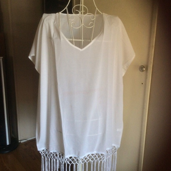 MG Collection Other - MG Collection Sheer Chiffon Fringed Beach Coverup